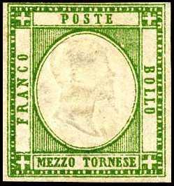 1861 - Province Napoletane - Effige di Vittorio Emanuele II in rilievo in un ovale bianco