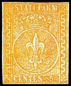 1853 - Giglio borbonico in un cerchio sormontato dalla corona ducale - su carta bianca