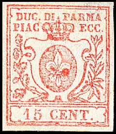 1857 - Giglio borbonico in uno scudo sormontato dalla corona ducale