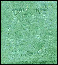 1853 - Seconda emissione - Effige di Vittorio Emanuele II volta a destra - diciture a secco in rilievo