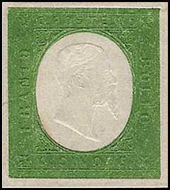 1854 - Terza emissione - Effige di Vittorio Emanuele II - dicitura a secco in rilievo - Centro bianco e fondo colorato