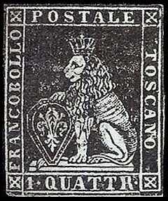 1857 - Marzocco coronato in cornice rettangolare - filigrana linee ondulate verticali