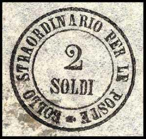 1854 - Segnatasse per giornali - Bollo circolare impresso a mano