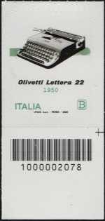 macchina per scrivere portatile OLIVETTI Lettera 22 - 70° Anniversario della produzione - francobollo con codice a barre n° 2078 in BASSO a destra