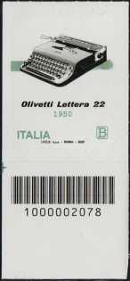 macchina per scrivere portatile OLIVETTI Lettera 22 - 70° Anniversario della produzione - francobollo con codice a barre n° 2078 in BASSO a sinistra