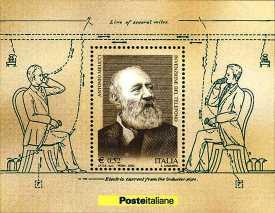 Italia 2003 - foglietto  Omaggio ad Antonio Meucci, inventore del telefono
