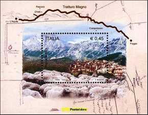 Italia 2004 - foglietto - Transumanza attraverso il Tratturo Magno