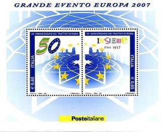 Italia 2007 - foglietto del Cinquantenario della firma dei Trattati di Roma