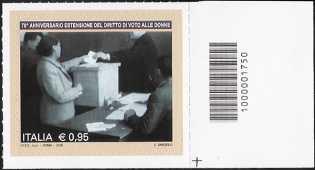 70° anniversario dell'estensione  del diritto di voto alle donne - francobollo con codice a barre n° 1750