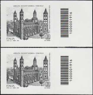 Abbazia di Sant'Andrea di Vercelli - VIII° Centenario della fondazione - coppia di francobolli con codici a barra n° 1916 a DESTRA  alto-basso