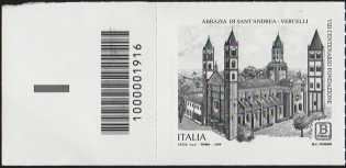 Abbazia di Sant'Andrea di Vercelli - VIII° Centenario della fondazione - francobollo con codice a barra n° 1916 a SINISTRA in BASSO