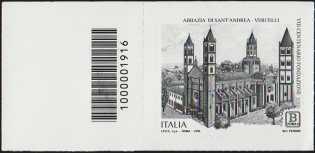 Abbazia di Sant'Andrea di Vercelli - VIII° Centenario della fondazione - francobollo con codice a barra n° 1916 a SINISTRA in ALTO