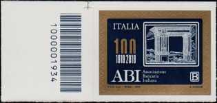 ABI : Associazione Bancaria Italiana - Centenario della costituzione - francobollo con codice a barre n° 1934  a SINISTRA in alto