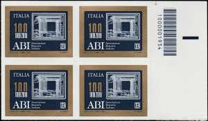 ABI : Associazione Bancaria Italiana - Centenario della costituzione - quartina con codice a barre n° 1934
