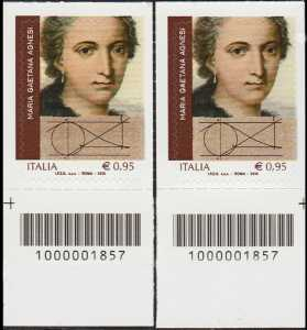 Maria Gaetana Agnesi - coppia di francobolli con codici a barre n° 1857 in BASSO destra-sinistra