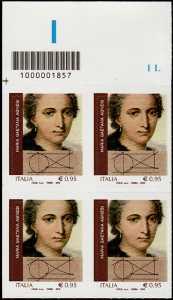 Eccellenze del sapere -  Maria Gaetana Agnesi - quartina con codice a barre n° 1857