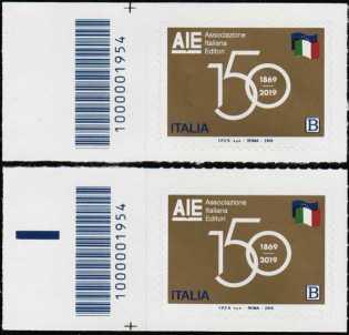 AIE : Associazione  Italiana Editori  -  150° Anniversario della costituzione - coppia di francobolli con codice a barre n° 1954 a SINISTRA alto-basso
