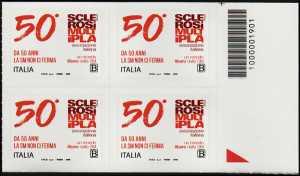 A.I.S.M. - Associazione Italiana Sclerosi Multipla - Cinquantenario della fondazione - quartina con codice a barre n° 1901