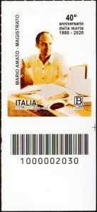 Il Senso Civico - magistrato Mario Amato - 40° Anniversario della morte - francobollo con codice a barre n° 2030 in BASSO a destra