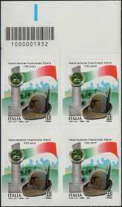Centenario della costituzione della Associazione Nazionale Alpini - quartina con codice a barre n° 1932