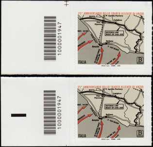 75° Anniversario dello Sbarco Alleato di Anzio - coppia di francobolli con codice a barre n° 1947 a SINISTRA alto-basso