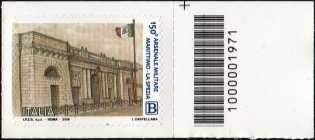 Arsenale Militare Marittimo di La Spezia - 150° Anniversario della fondazione - francobollo con codice a barre n° 1971 a DESTRA in alto