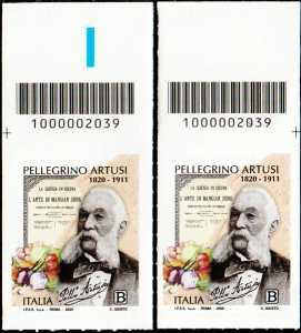 Pellegrino Artusi - Bicentenario della nascita - coppia di francobolli con codice a barre n° 2039 in ALTO destra-sinistra