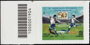Associazione Italiana Calciatori - 50° Anniversario della fondazione - francobollo con codice a barre n° 1904 a SINISTRA in alto