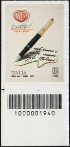 Aurora - Centenario della fondazione  - francobollo con codice a barre n° 1940 in BASSO a sinistra