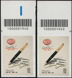 Aurora - Centenario della fondazione  - coppia di francobolli con codice a barre n° 1940 in ALTO a destra-sinistra