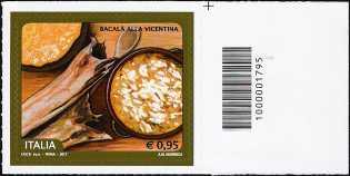 Il Bacalà alla vicentina - francobollo con codice a barre n° 1795