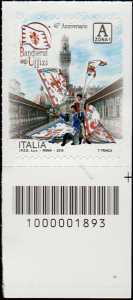 Bandierai degli Uffizi - Firenze - 45° Anniversario della fondazione - francobollo con codice a barre n° 1893 in Basso a destra