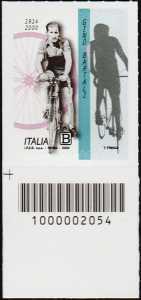 Gino Bartali - 20° Anniversario della scomparsa - francobollo con codice a barre n° 2054 in BASSO a sinistra