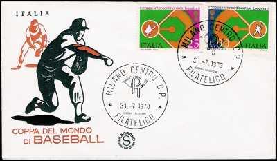 1973 - 1° coppa intercontinentale di baseball - busta 1° giorno di emissione - Busta  FDC Filigrano