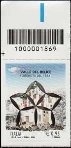 50° Anniversario del terremoto della Valle del Belìce - francobollo con codice a barre n° 1869