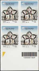 50° Anniversario del terremoto della Valle del Belìce - quartina con codice a barre n° 1869