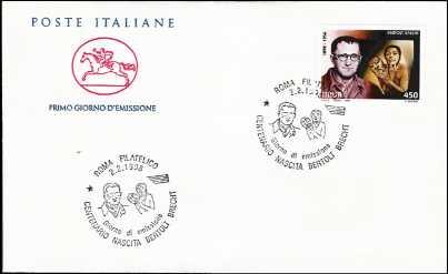 1998 - Bertolt Brecht  - FDC  CAVALLINO - Annullo ufficiale Roma Filatelico