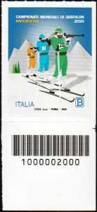 Campionato mondiale di Biathlon 2020 - francobollo con codice a barre n°2000 in BASSO a destra