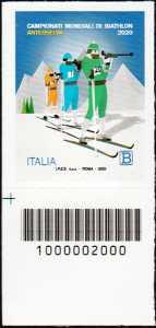 Campionato mondiale di Biathlon 2020 - francobollo con codice a barre n°2000 in BASSO a sinistra