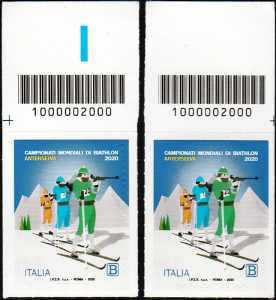 Campionato mondiale di Biathlon 2020 - coppia di francobolli con codice a barre n°  2000 in ALTO destra-sinistra