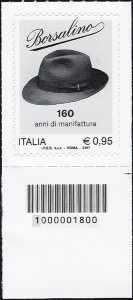 Borsalino - 160° Anniversario della fondazione - francobollo con codice a barre n° 1800