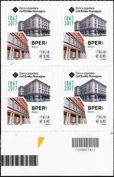 Banca Popolare dell'Emilia Romagna  ( BPER ) - 150° anniversario della fondazione - quartina con codice a barre n° 1811