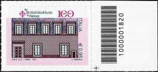 Centenario della istituzione del British Institute of Florence - francobollo con codice a barre n° 1820