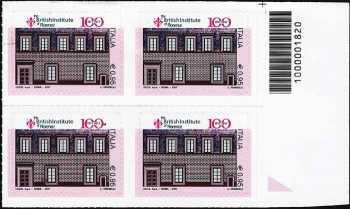 Centenario della istituzione del British Institute of Florence - quartina con codice a barre n° 1820