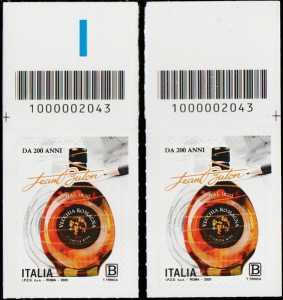 Le Eccellenze del sistema produttivo ed economico : BUTON - Centenario della fondazione - coppia di francobolli con codice a barre n° 2043 in ALTO destra-sinistra