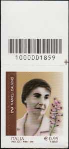 Eccellenze del sapere -  Eva Mameli Calvino - francobollo con codice a barre n° 1859