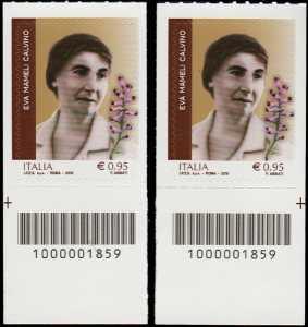 Eccellenze del sapere -  Eva Mameli Calvino - coppia di francobolli con codici a barre n° 1859 in BASSO destra-sinistra