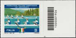 Federazione Italiana Canottaggio - 130° Anniversario della fondazione - francobollo con codice a barre 1906 a DESTRA in basso