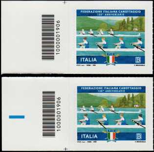 Federazione Italiana Canottaggio - 130° Anniversario della fondazione - coppia di francobolli con codice a barre 1906 a SINISTRA  alto-basso