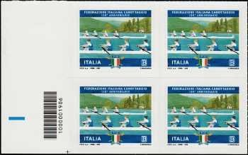 Federazione Italiana Canottaggio - 130° Anniversario della fondazione - quartina con codice a barre 1906
